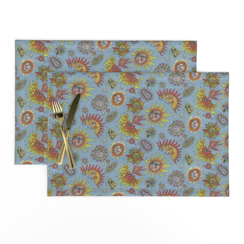 Lamona Cloth Placemats featuring different fantasy sun faces, small scale, blue gray grey yellow orange red by amy_g