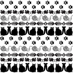 Black Cats and Their Playthings, Repeating Rows