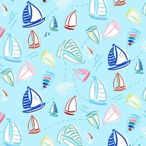 ditzy summer sailboats - baby blue