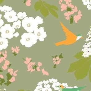 Hummingbird garden in green background