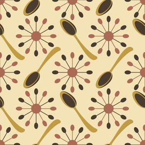 Spoons and Starburst Mid Century Earth Hues