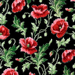 Poppies For Dorothy ~ Bright on Black