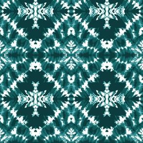 Teal Tie Dye Shibori fabric pattern Wallpaper