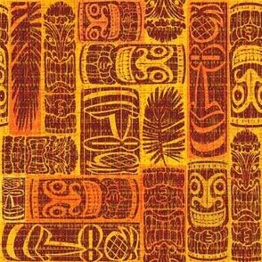 Mid Century Tiki heads orange red