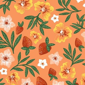 Summer Strawberry Floral by Angel Gerardo