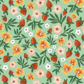 Summer Strawberry Floral with Mint Small Scale by Angel Gerardo