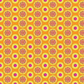 Orange, Yellow, Pink Abstract Flowers and Dots