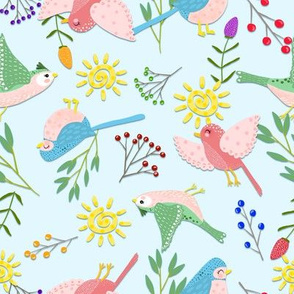 **TK-SUMMER SMALL WHIMSICAL BIRDS-BRITE-Teal