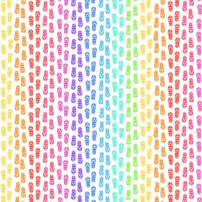 rainbow thongs   stripes yellow to green