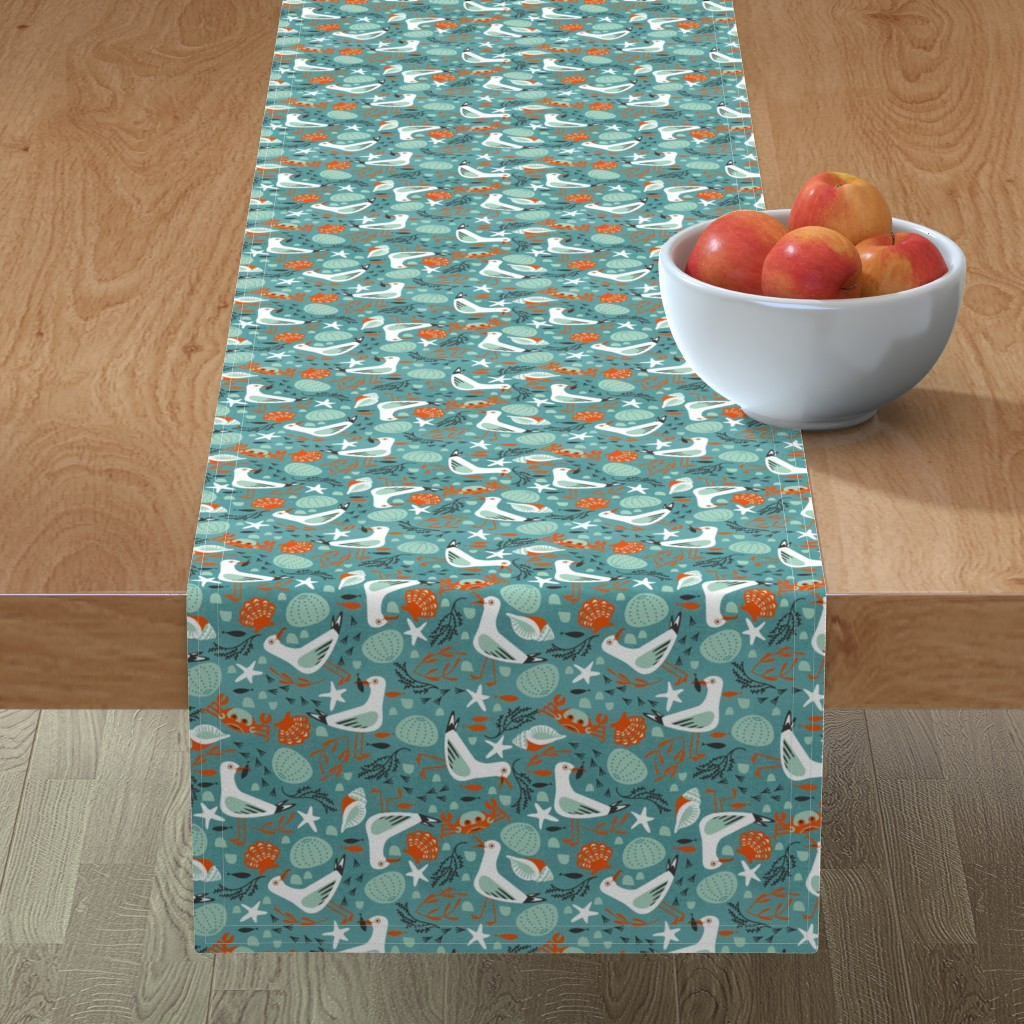 Minorca Table Runner featuring summer seaside sea by cjldesigns