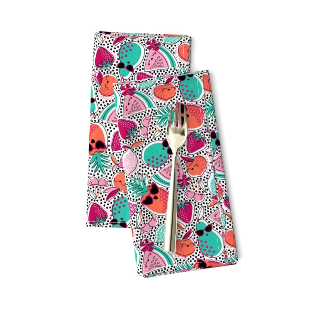 Amarela Dinner Napkins featuring Pineapples, Peaches, and Pears ... Oh My! by nanshizzle