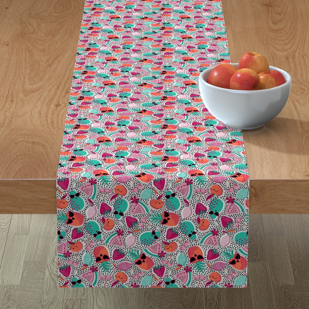 Minorca Table Runner featuring Pineapples, Peaches, and Pears ... Oh My! by nanshizzle