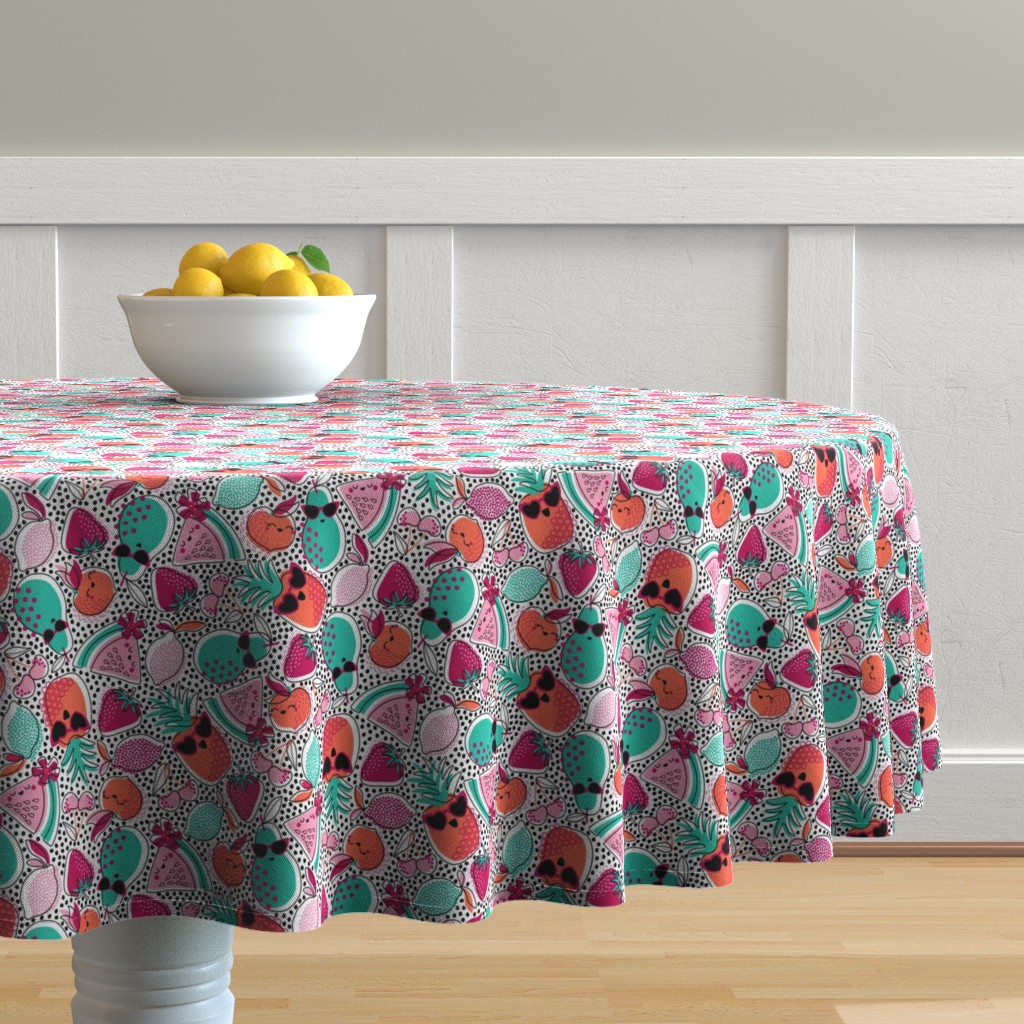 Malay Round Tablecloth featuring Pineapples, Peaches, and Pears ... Oh My! by nanshizzle