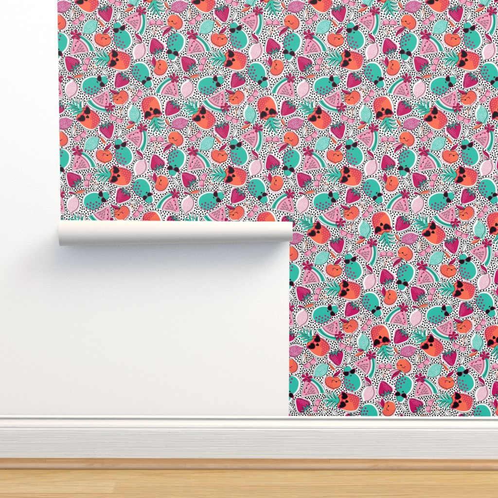 Isobar Durable Wallpaper featuring Pineapples, Peaches, and Pears - LARGE by nanshizzle