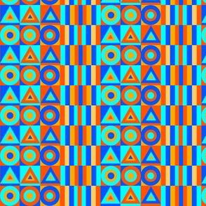 Blue and Orange Circle Triangle Stripes