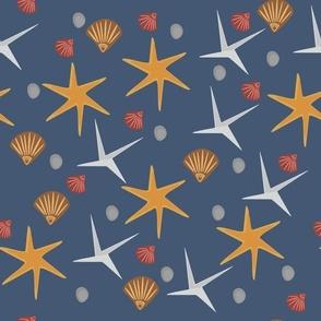 Beach Shells Stones Sea Birds Pattern