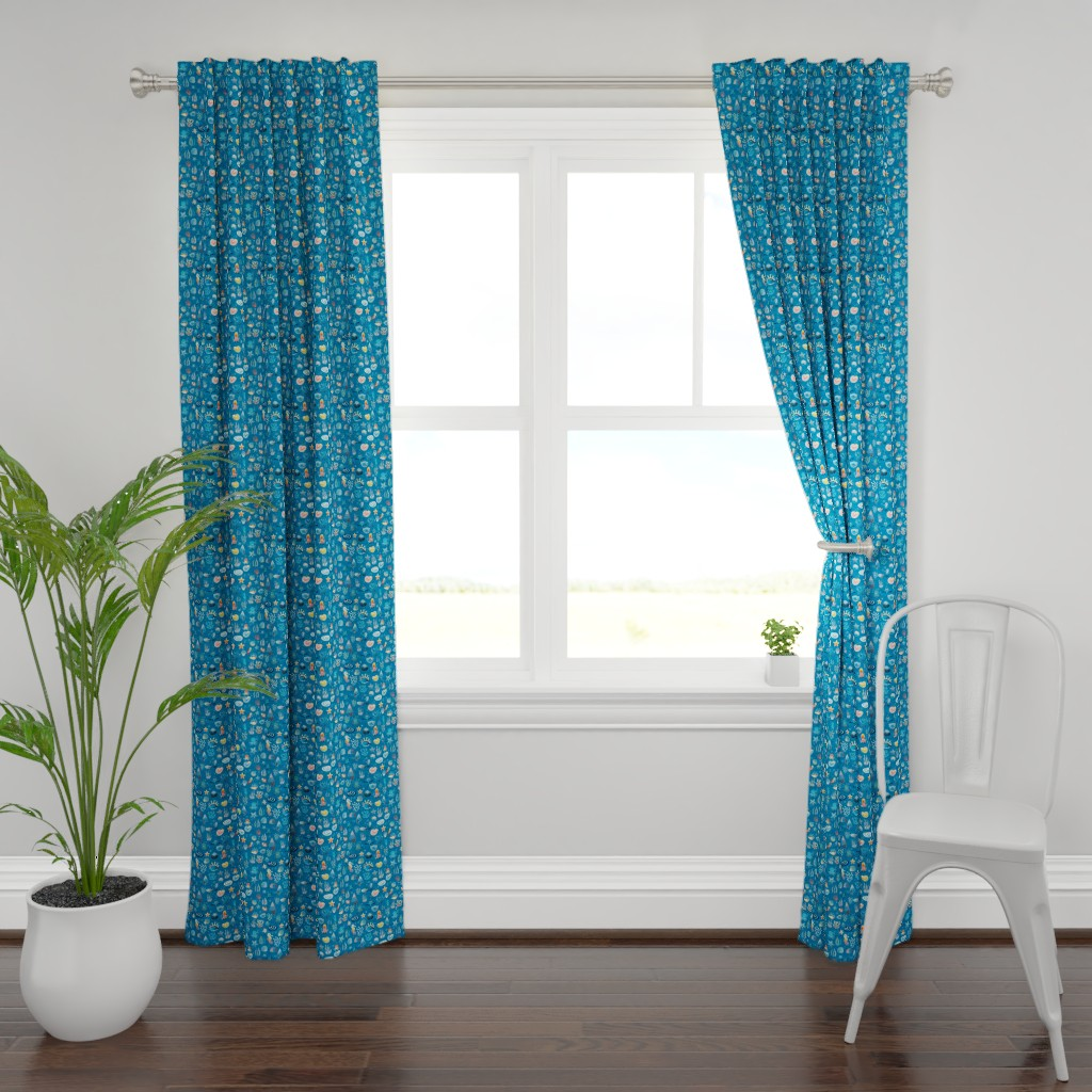 Plymouth Curtain Panel featuring playful sea life by colorofmagic