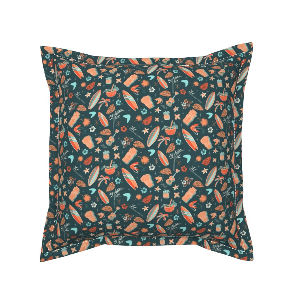 Serama Throw Pillow featuring Retro Hawaiian shirt by roofdog_designs