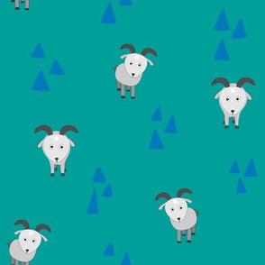 Cute goat with geometric traingles