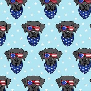 black lab - Labrador dog breed faces (blue) - patriotic labs - LAD19