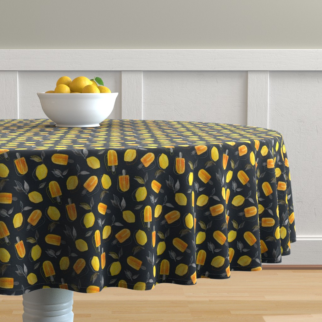 Malay Round Tablecloth featuring Fresh Lemons & Frozen Pops by micklyn