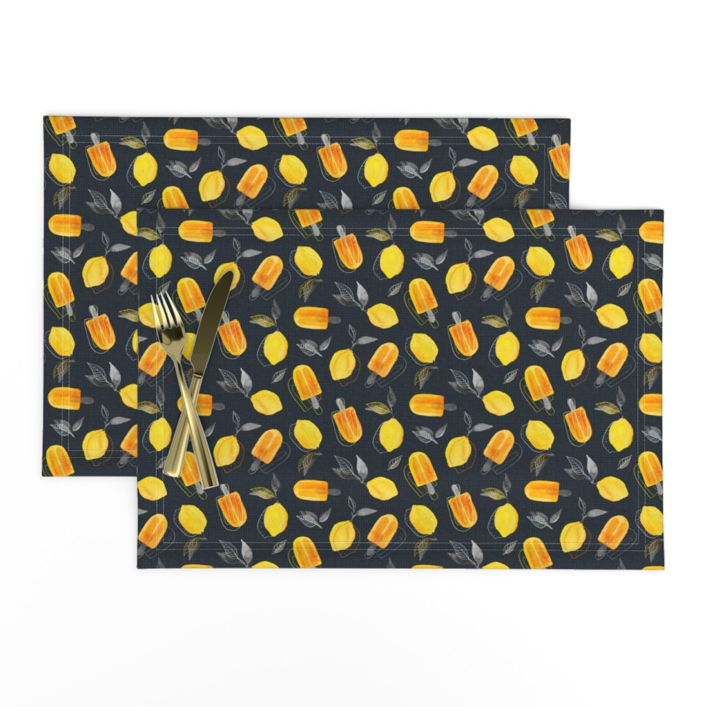 Lamona Cloth Placemats featuring Fresh Lemons & Frozen Pops by micklyn