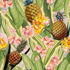 """18"""" Fruit Cocktail - Vintage Tropical Palm Jungle, flower Pineapple fabric, Palm fabric,vintage hawaiian fabric on blush pink"""