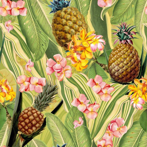 """18"""" Fruit Cocktail - Vintage Tropical Palm Jungle, Flower Pineapple fabric, Palm fabric,vintage hawaiian fabric on green"""
