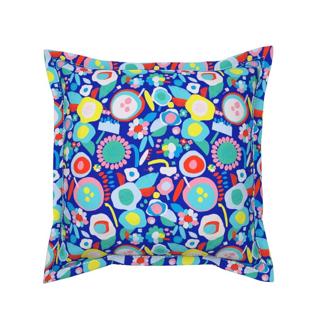 Serama Throw Pillow featuring happy blooms dark by alexmichiardi