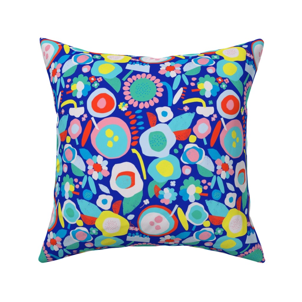 Catalan Throw Pillow featuring happy blooms dark by alexmichiardi