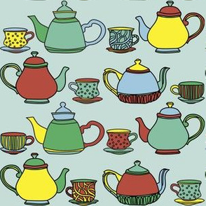 Tea pot and tea cup - green and yellow