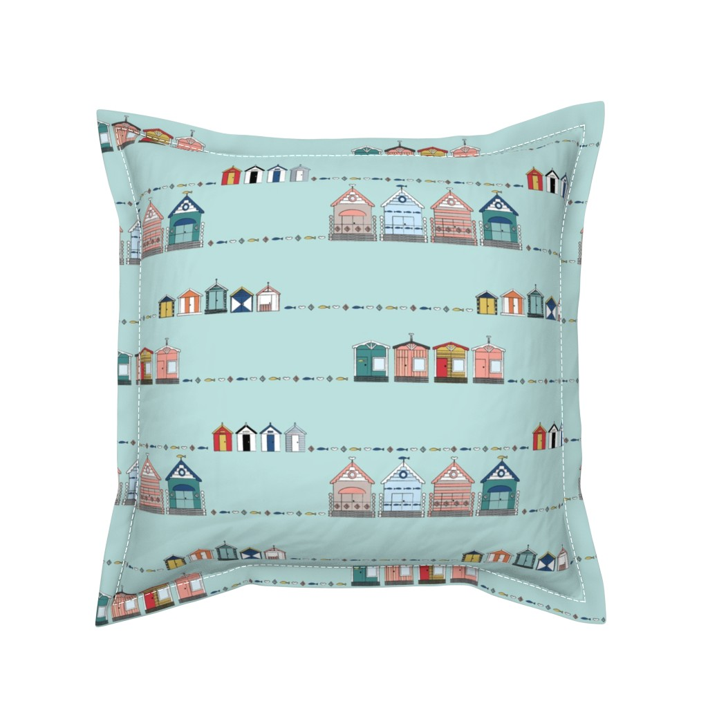 Serama Throw Pillow featuring Tiny Beach Huts by twigged