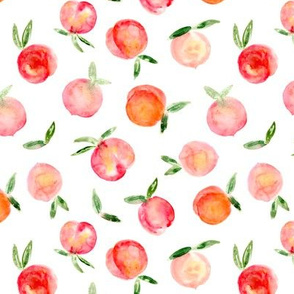 Watercolor peaches on white || summer fruit pattern