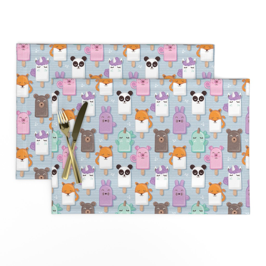 Lamona Cloth Placemats featuring Kawaii Cuddly Animal Ice Creams // small scale // panda fox pig bunny unicorns bear popsicles on pale blue background by selmacardoso