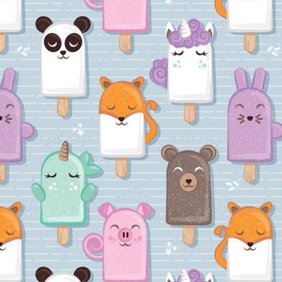 Small scale // Kawaii Cuddly Animal Ice Creams // panda fox pig bunny unicorns bear popsicles on pale blue background