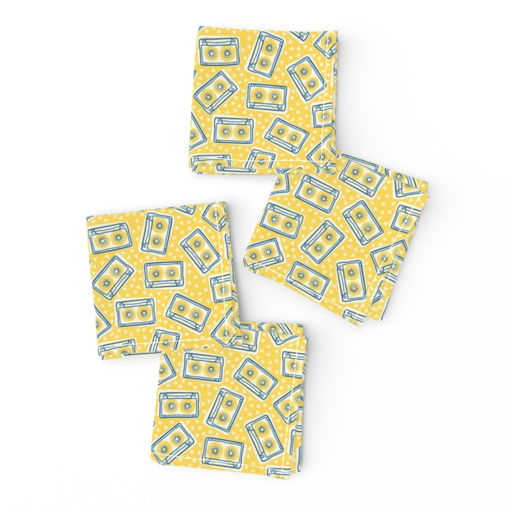 Frizzle Cocktail Napkins featuring Mini Cassettes - Lemon Mix - Blue and Yellow Tapes Scattered on a Yellow Background - © Autumn Musick 2019 by autumn_musick