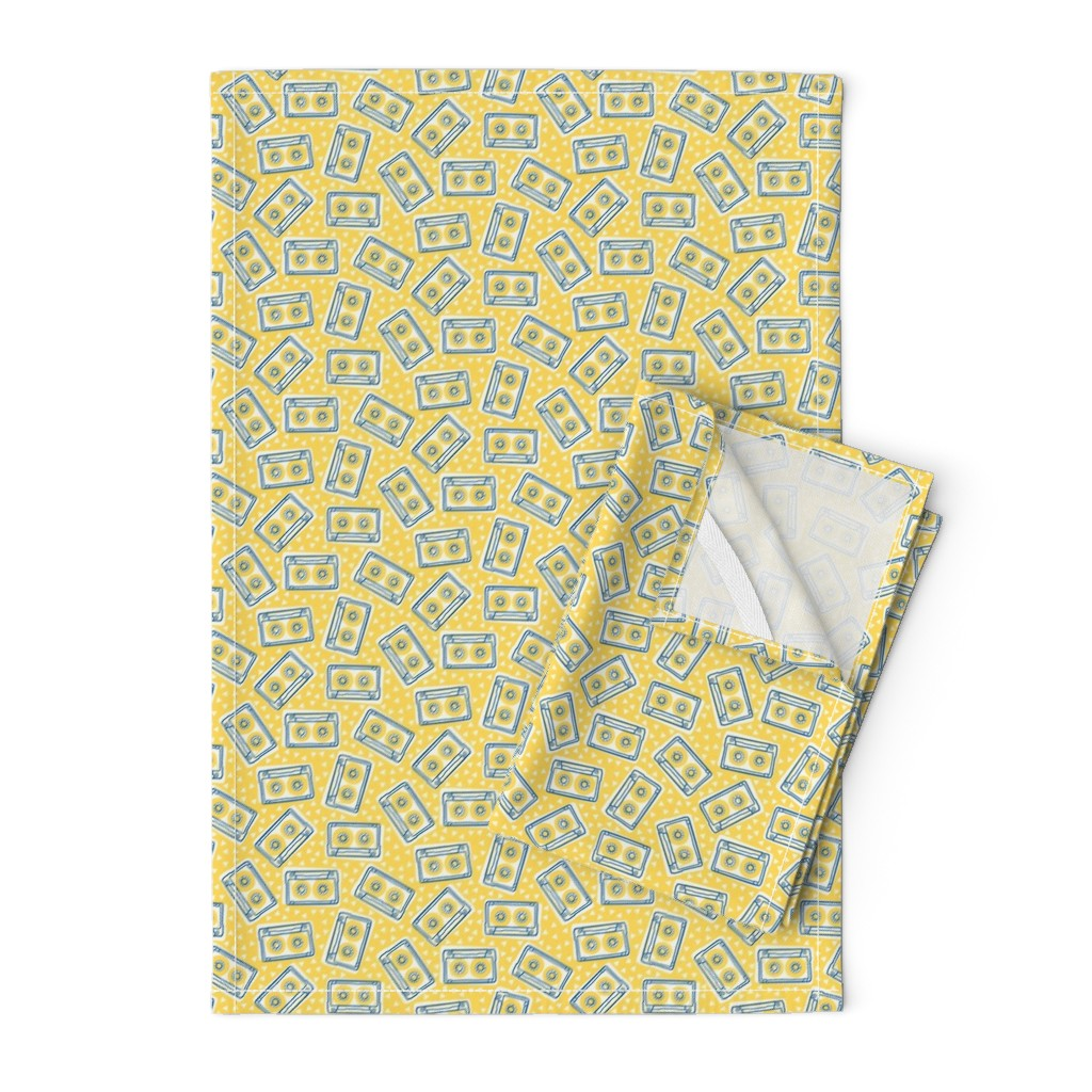 Orpington Tea Towels featuring Mini Cassettes - Lemon Mix - Blue and Yellow Tapes Scattered on a Yellow Background - © Autumn Musick 2019 by autumn_musick