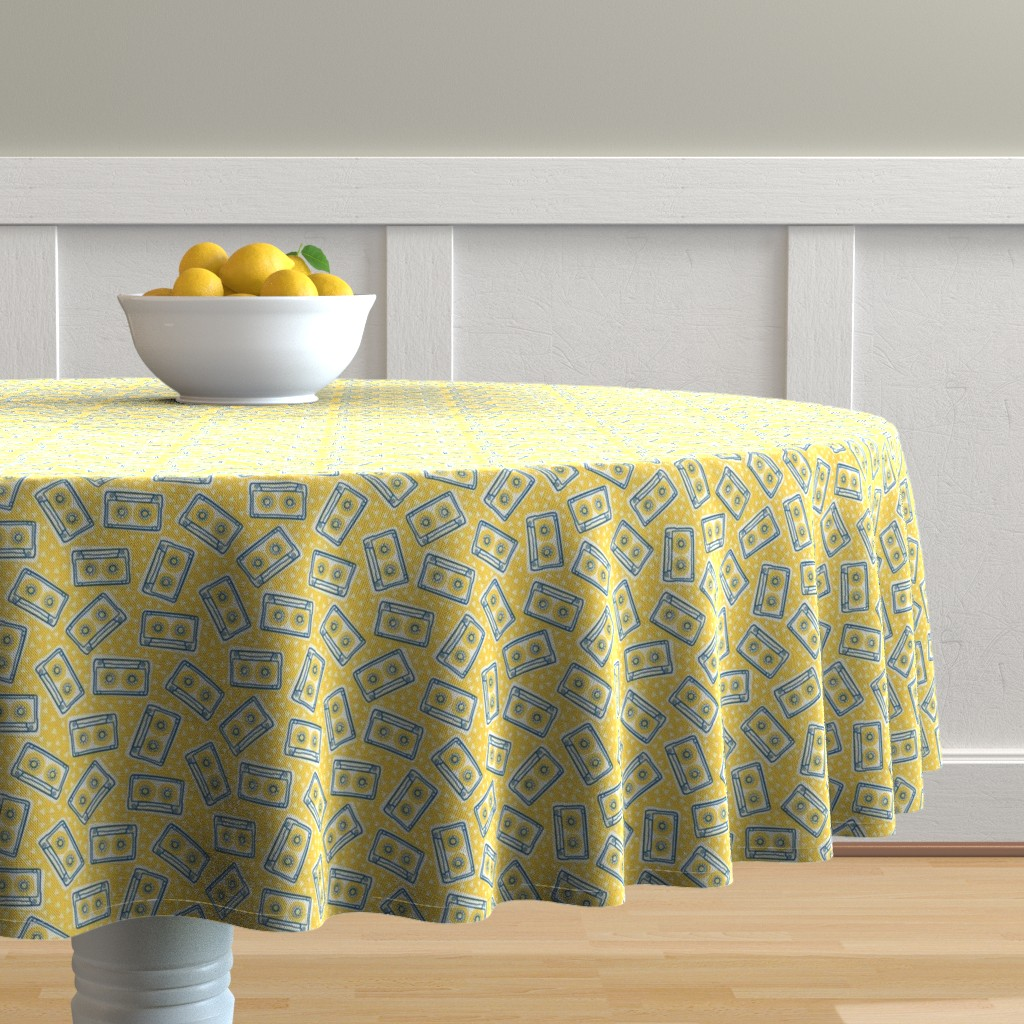 Malay Round Tablecloth featuring Mini Cassettes - Lemon Mix - Blue and Yellow Tapes Scattered on a Yellow Background - © Autumn Musick 2019 by autumn_musick