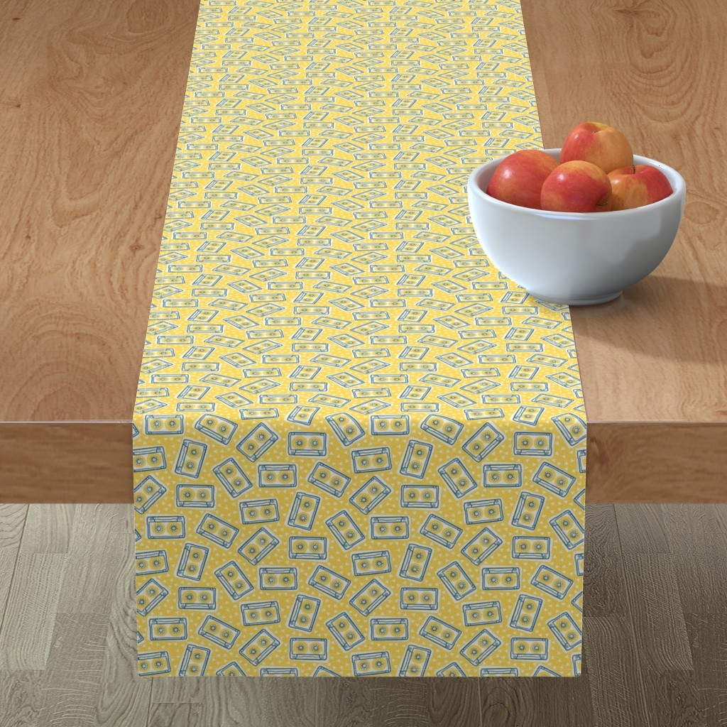 Minorca Table Runner featuring Mini Cassettes - Lemon Mix - Blue and Yellow Tapes Scattered on a Yellow Background - © Autumn Musick 2019 by autumn_musick