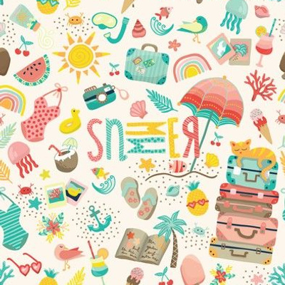 Never Ending Summer, Small Tiny Pastel Vacation Adventure, Pink mint and green, Palm Trees and Ice Cream