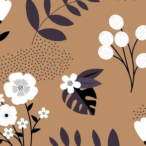 Bohemian summer blossom botanical leaves and flower branch and indian summer detailing brown rust JUMBO