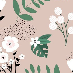 Bohemian summer blossom botanical leaves and flower branch and indian summer detailing beige green