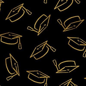 Gold Faux Glitter Graduation Caps