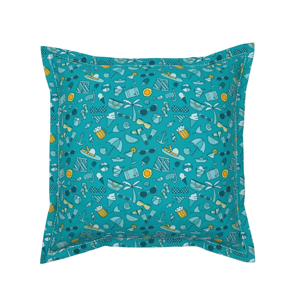 Serama Throw Pillow featuring Summertime, and the livin' is easy by doodlena