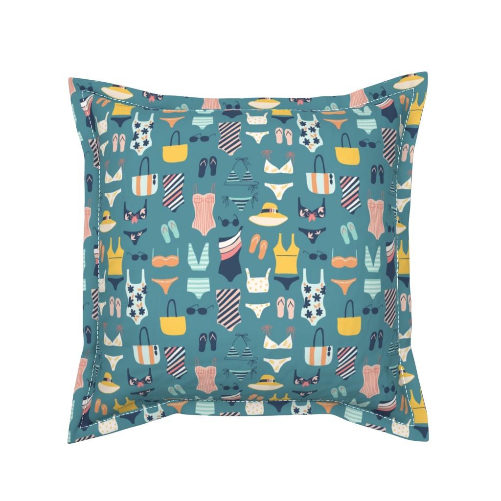 Serama Throw Pillow featuring Beach Bound by yuanxudesign