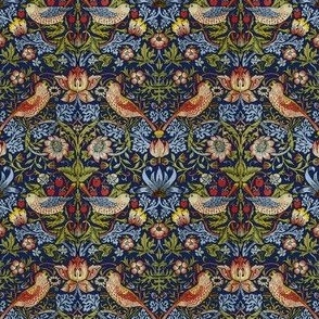 William Morris ~ Strawberry Thief ~ Bright Blue ~ Wee Small