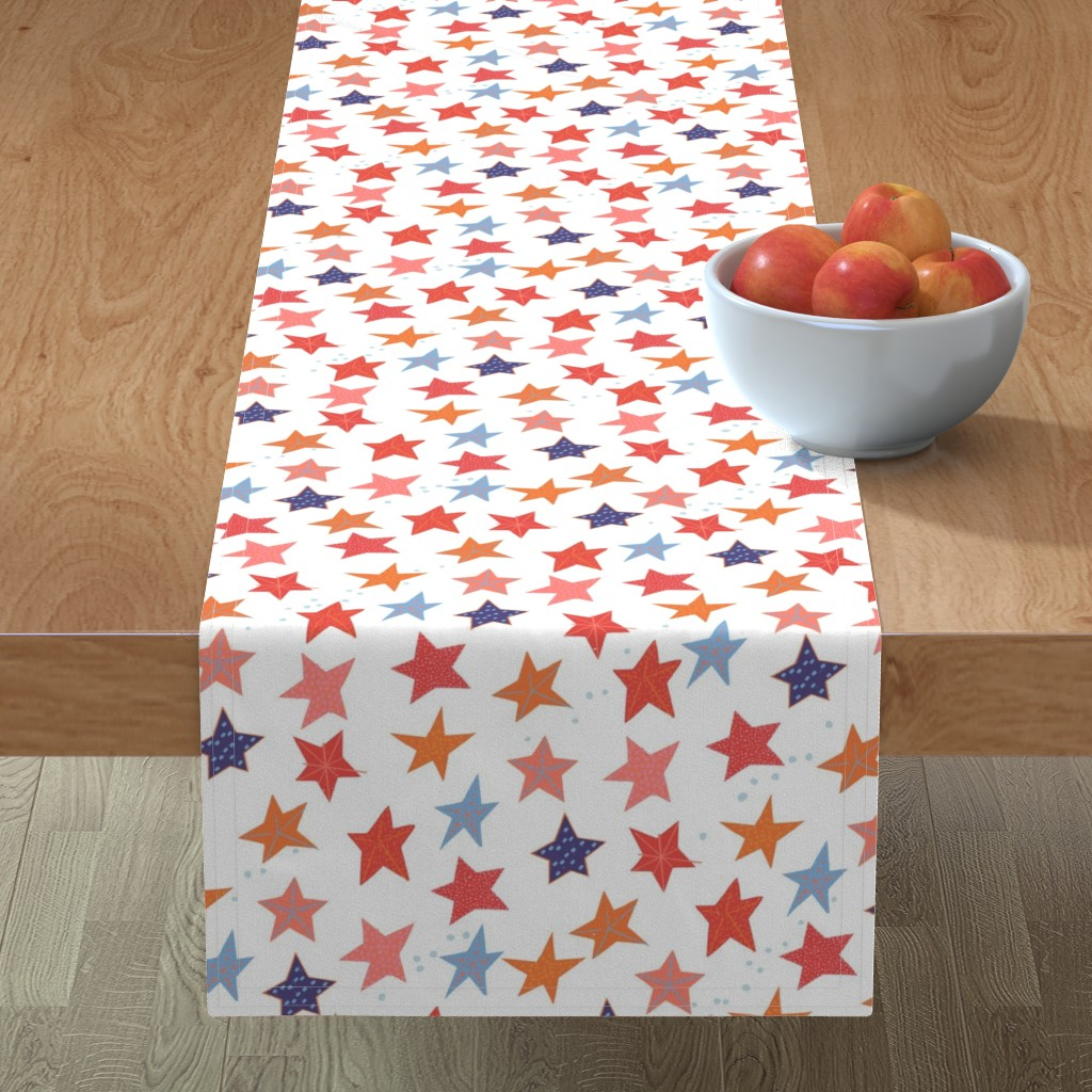 Minorca Table Runner featuring Paper cut Starfish M+M Reds by Friztin by friztin