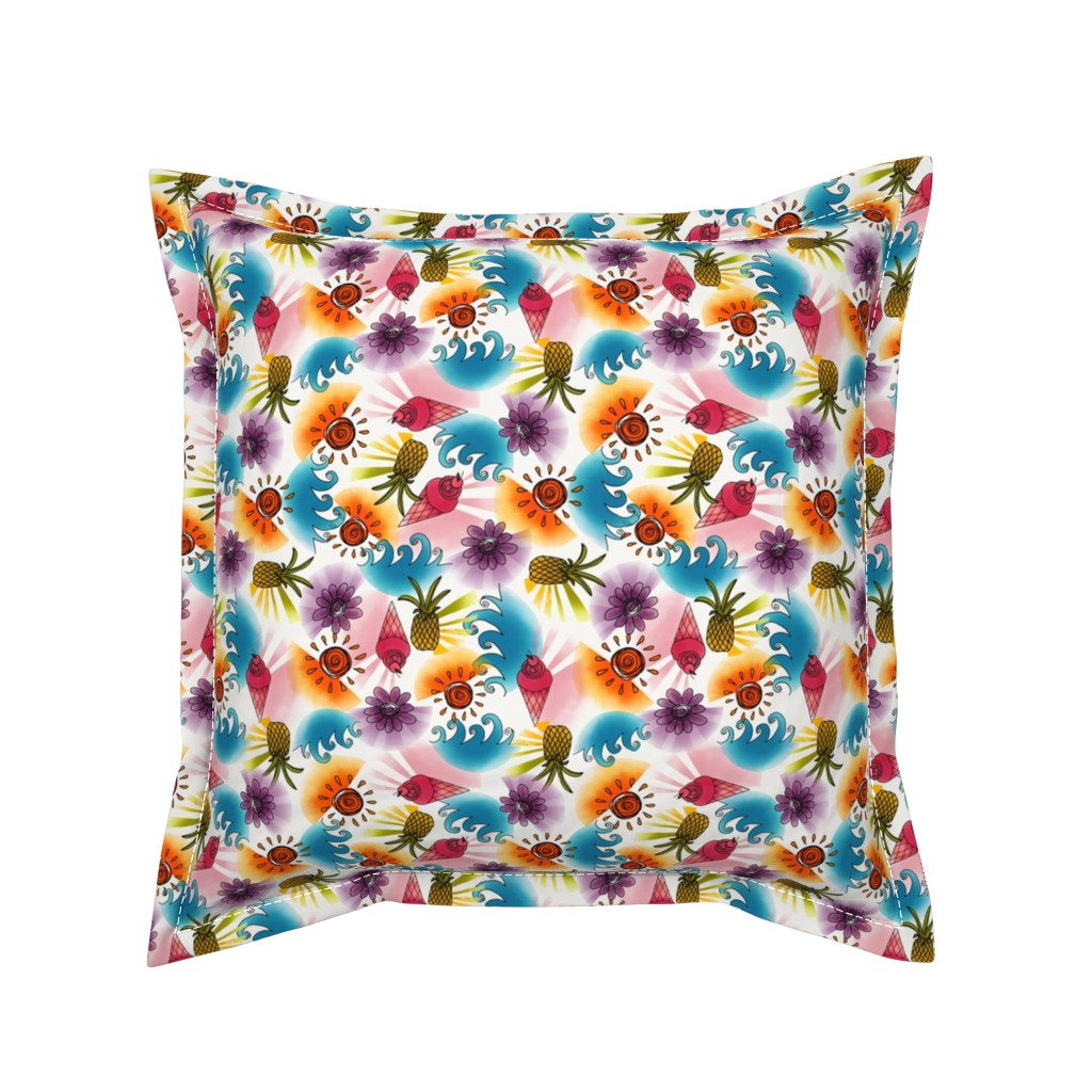 Serama Throw Pillow featuring Small Summer Splash - by Kara Peters by karapeters