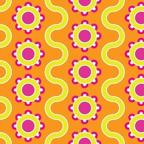 Orange, Yellow, Pink Flowers and a Serpentine