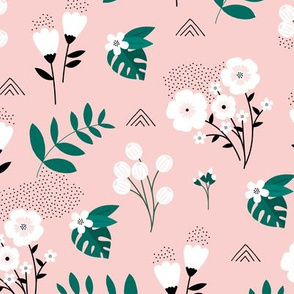 Bohemian summer blossom botanical leaves and flower branch and indian summer detailing pink green